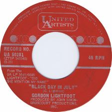 Gordon Lightfoot - Black Day in July / Pussywillows, Cat-Tails - 7
